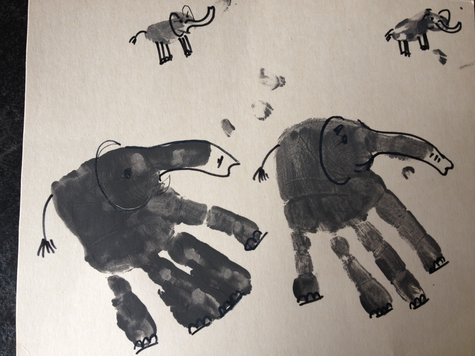 Herd of hand print Elephants