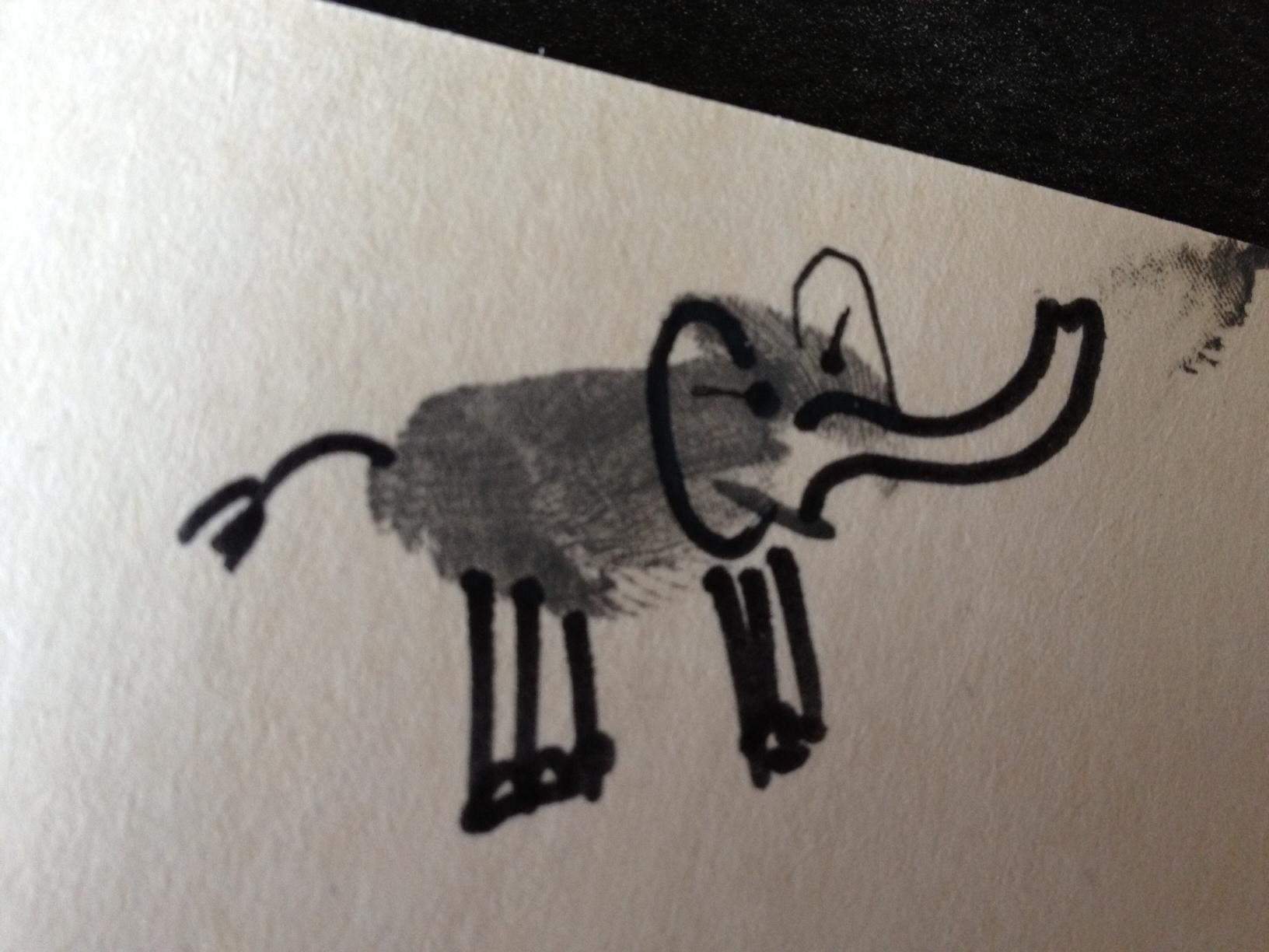 Thumb print baby elephant