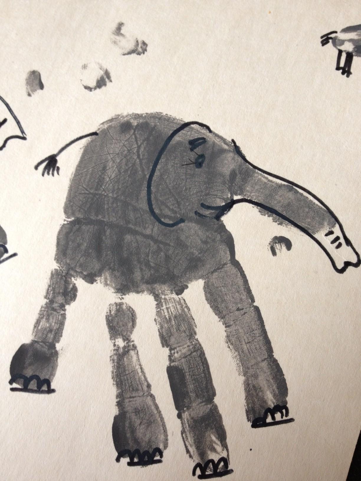 Hand Print Elephant