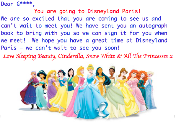 Disneyland Paris Holiday Reveal Letter for Girls