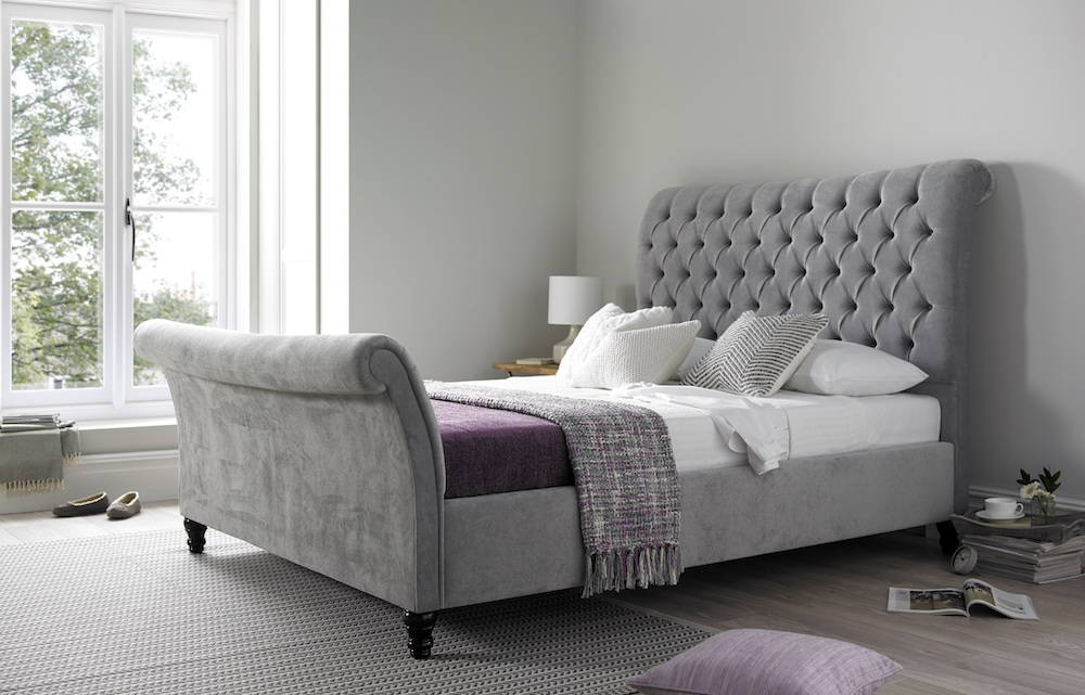 Grey upholstered bed www.time4sleep.co.uk